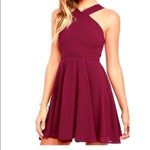Lulus maroon cross front flare dress